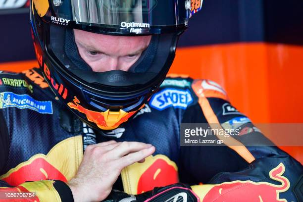 Bradley Smith of Great Britain and Red Bull KTM Factory Racing prepares to start in box during the qualifying practice during the MotoGP Of Malaysia...