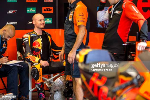 Bradley Smith of Great Britain prepares in the pits during the MotoGP Red Bull US Grand Prix of The Americas Free Practice 3 at Circuit of The...
