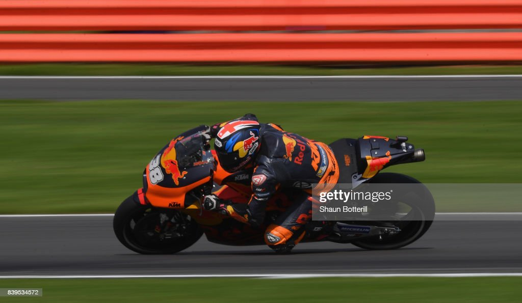 Bradley Smith of Red Bull KTM Factory Racing during Free Practice 4 at Silverstone Circuit on August 26, 2017 in Northampton, England.