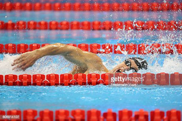 Bradley Snyder of the United States competes at the Men's 100m Freestyle S11 Final during day 8 of the Rio 2016 Paralympic Games at the Olympic...