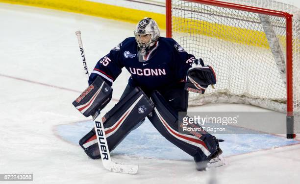 Bradley Stone of the Connecticut Huskies warms up before NCAA hockey against the Boston College Eagles at Kelley Rink on November 7 2017 in Chestnut...