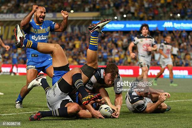 Bradley Takairangi of the Eels scores a try during the round two NRL match between the Parramatta Eels and the North Queensland Cowboys at Pirtek...