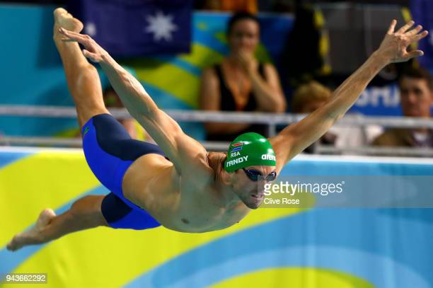 Bradley Tandy of South Africa competes during the Men's 50m Freestyle Semifinal 1 on day five of the Gold Coast 2018 Commonwealth Games at Optus...