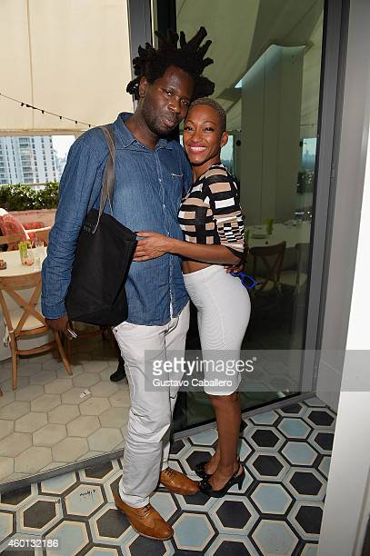 Bradley Theodore and Tanya Sergei attend The John Varvatos Art Basel Closing Brunch In Support Of Bass Museum Of Art at Soho Beach House on December...