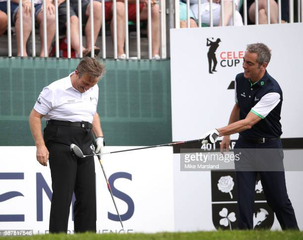 Bradley Walsh and James Nesbitt during the 2018 'Celebrity Cup' at Celtic Manor Resort on June 30 2018 in Newport Wales