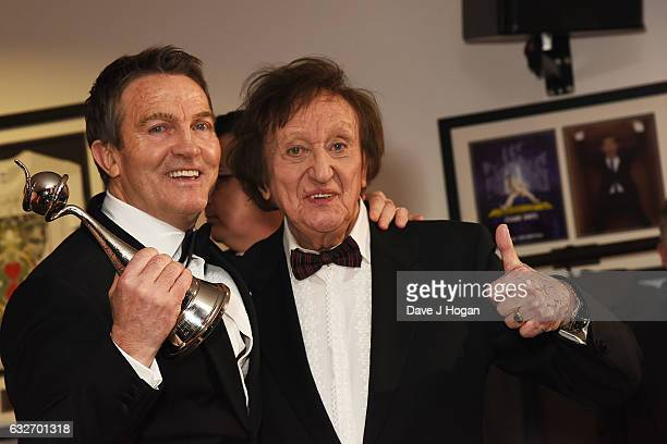 Bradley Walsh and Ken Dodd pose in the winners room at the National Television Awards at The O2 Arena on January 25 2017 in London England