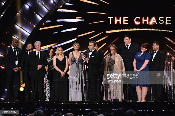 Bradley Walsh and production team of The Chase with the Best Daytime Award on stage at the National Television Awards at The O2 Arena on January 25...