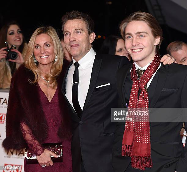 Bradley Walsh wife Donna Derby and son Barney Walsh attends the National Television Awards at 02 Arena on January 21 2015 in London England