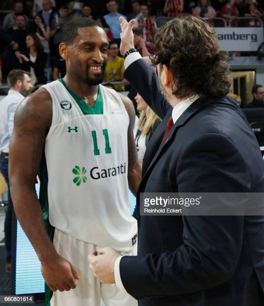 Bradley Wanamaker #11 of Darussafaka Dogus Istanbul and Andrea Trinchieri Head Coach of Brose Bamberg after the 2016/2017 Turkish Airlines EuroLeague...