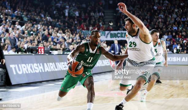 Bradley Wanamaker #11 of Darussafaka Dogus Istanbul competes with Ioannis Bourousis #29 of Panathinaikos Superfoods Athens during the 2016/2017...