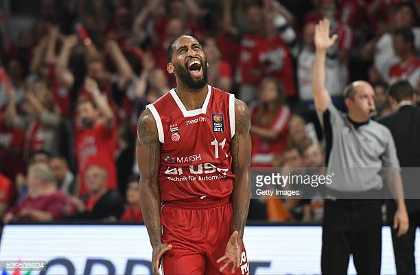 Bradley Wanamaker celebrates during game three of the 2016 BBL Finals between Brose Baskets and ratiopharm Ulm at Brose Arena on June 12 2016 in...