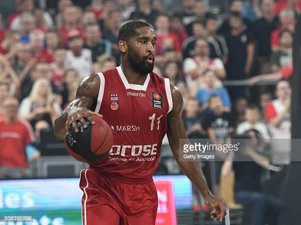 Bradley Wanamaker dribbels the ball during the BEKO BBL Final game 1 between Brose Baskets Bamberg and ratipopharm Ulm at Brose Arena on June 5 2016...