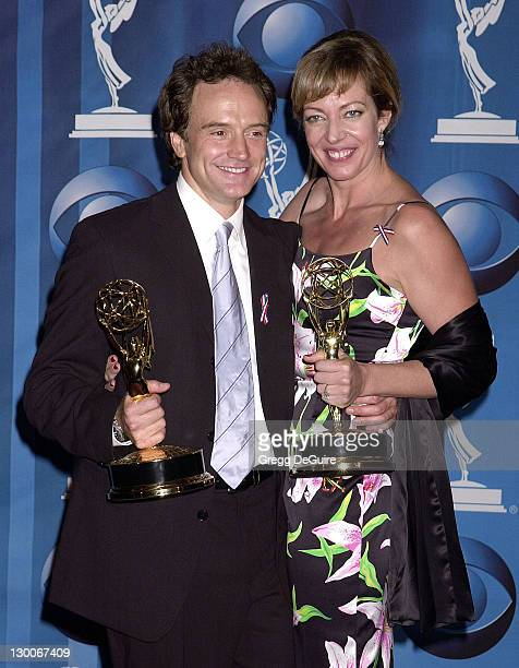 Bradley Whitford Allison Janney show their Emmys for Best Supporting Actor and Actress In A Drama Series for their roles in NBC's The West Wing