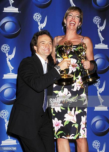 Bradley Whitford and Allison Janney during 53rd Annual Primetime Emmy Awards Press Room at Shubert Theater in Century City California United States