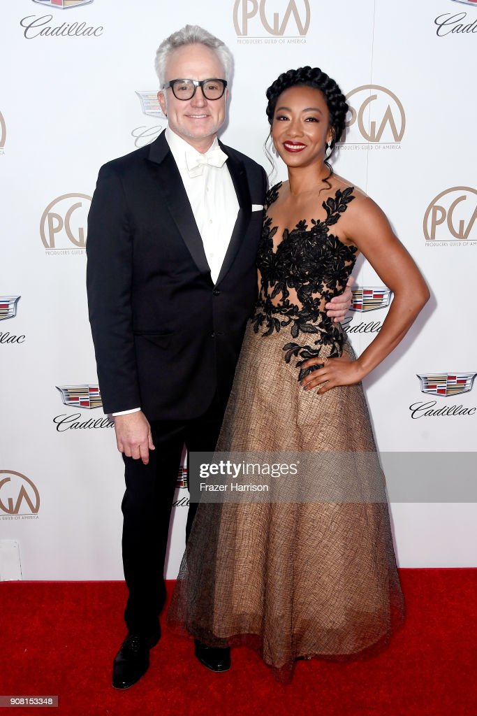 Bradley Whitford (L) and Betty Gabriel attend the 29th Annual Producers Guild Awards at The Beverly Hilton Hotel on January 20, 2018 in Beverly Hills, California.