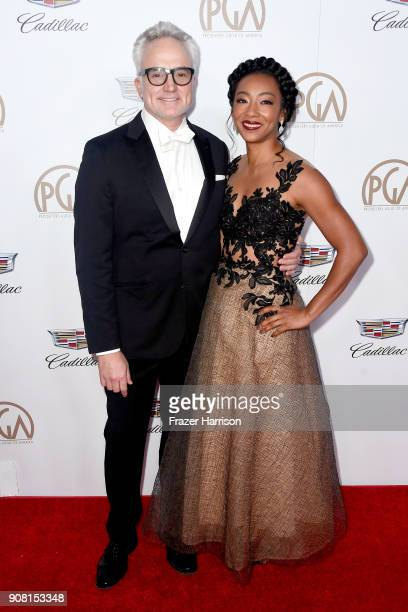 Bradley Whitford and Betty Gabriel attend the 29th Annual Producers Guild Awards at The Beverly Hilton Hotel on January 20 2018 in Beverly Hills...