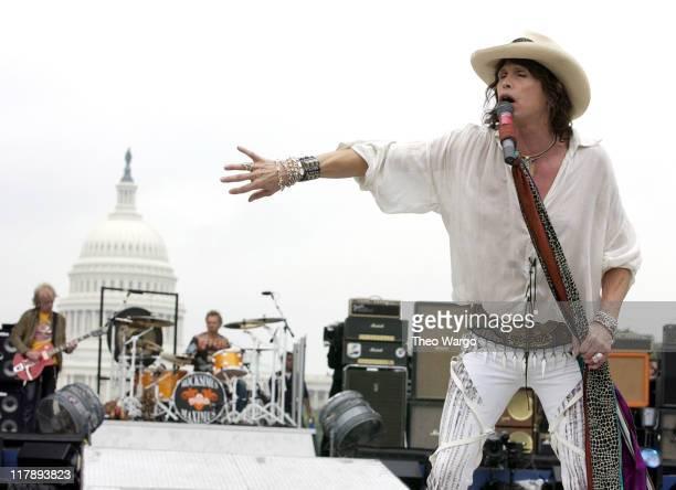 Bradley Whitford Joey Kramer and Steven Tyler of Aerosmith