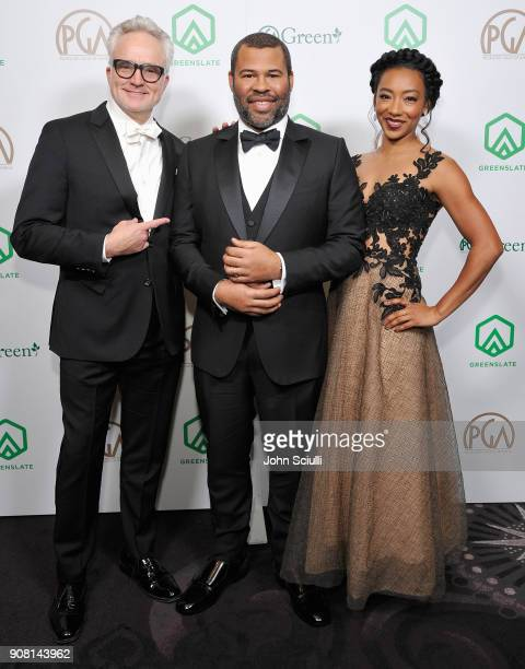 Bradley Whitford Jordan Peele and Betty Gabriel attend the 29th Annual Producers Guild Awards supported by GreenSlate at The Beverly Hilton Hotel on...