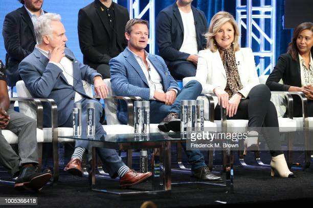 Bradley Whitford Steve Zahn Arianna Huffinton and Jada Miranda of 'Valley of the Boom' speak onstage during the National Geographic portion of the...