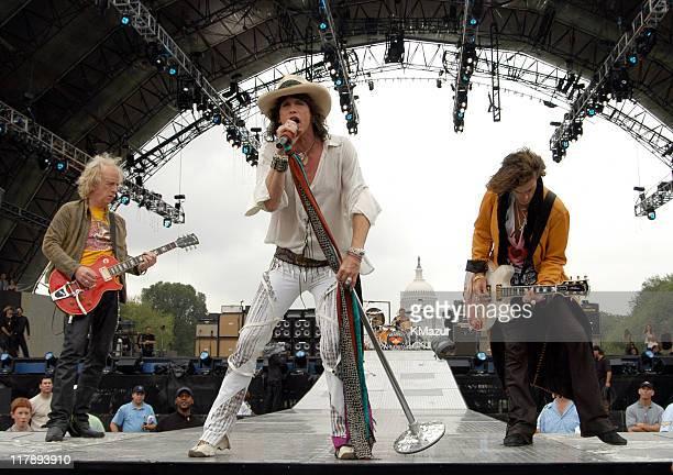 Bradley Whitford Steven Tyler Joey Kramer and Joe Perry of Aerosmith