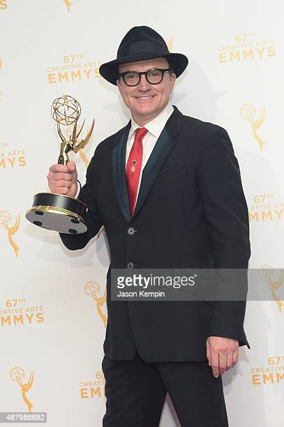Bradley Whitford winner of the guest actor comedy for Transparent poses in the press room during the 2015 Creative Arts Emmy Awards at Microsoft...
