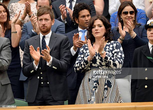 Bradley Wiggins and Catherine Wiggins attend the Mikhail Kuskushkin v Rafael Nadal match on centre court during day six of the Wimbledon...