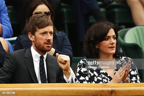 Bradley Wiggins and his wife Catherine in the royal box on centre court on day six of the Wimbledon Lawn Tennis Championships at the All England Lawn...