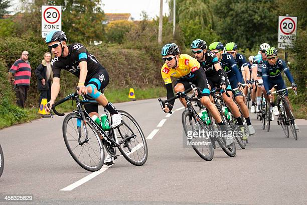 bradley wiggins and other cyclists during tour of britain 2013 - cycling event stock pictures, royalty-free photos & images