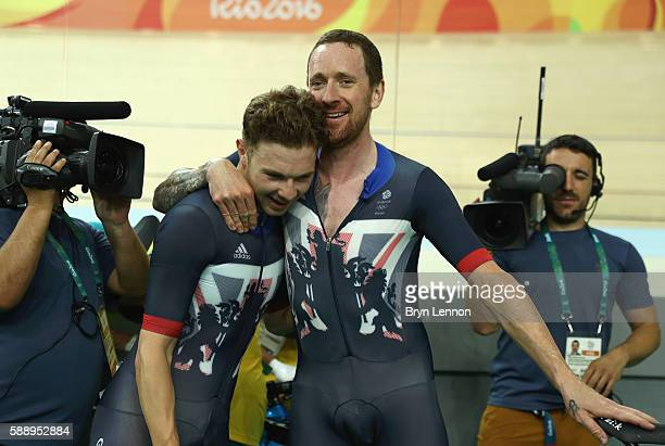 Bradley Wiggins and Owain Doull of Team Great Britain celebrates winning the gold medal after the Men's Team Pursuit Final for Gold on Day 7 of the...