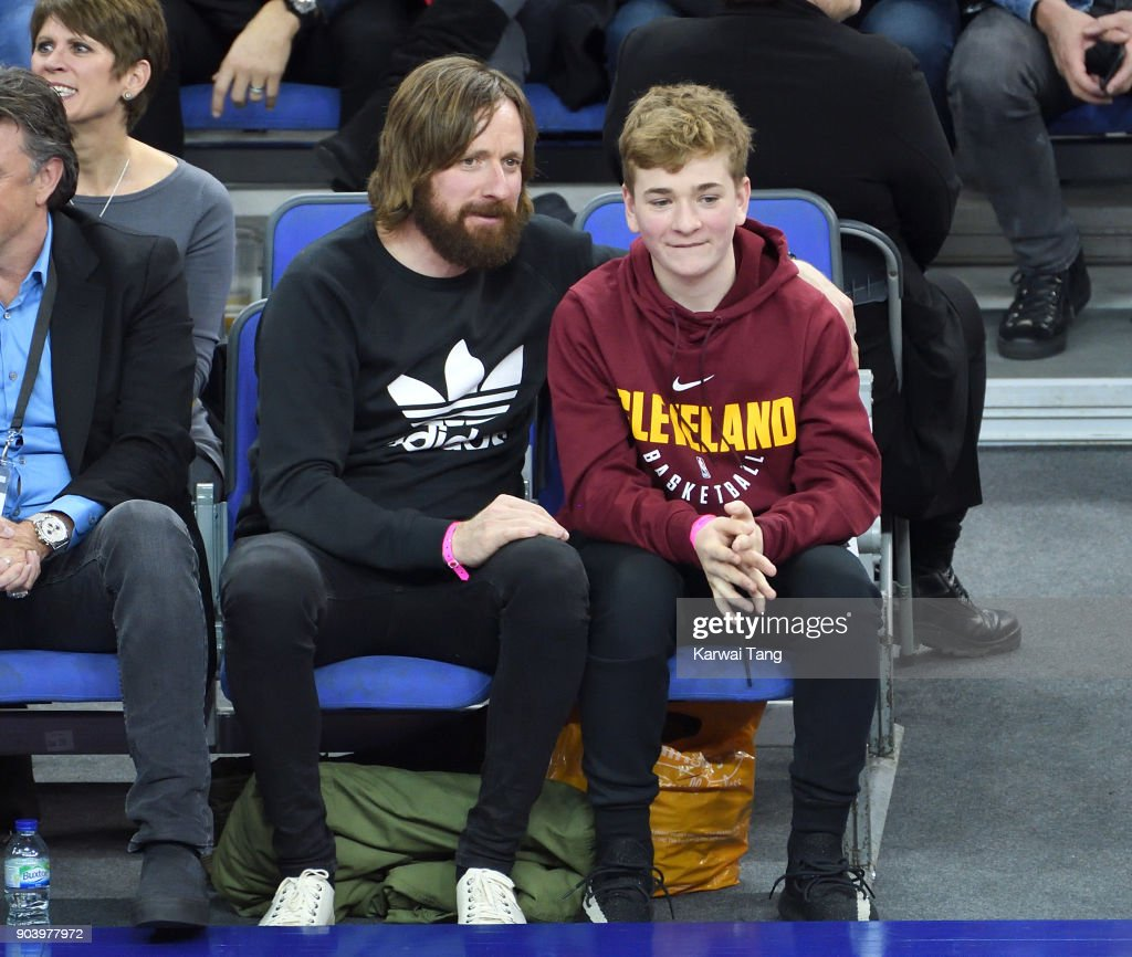 Bradley Wiggins (L) attends the Philadelphia 76ers and Boston Celtics NBA London game at The O2 Arena on January 11, 2018 in London, England.