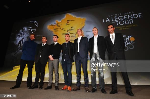 Bradley Wiggins Cadel Evans Mark Cavendish Philippe Gilbert Tejay van Garderen Chris Froome and Alberto Contador pose during the 2013 Tour de France...