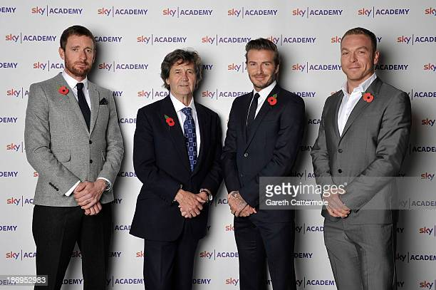 Bradley Wiggins Melvyn Bragg David Beckham and Chris Hoy at the launch of Sky Academy a set of initiatives using television creativity and sport to...