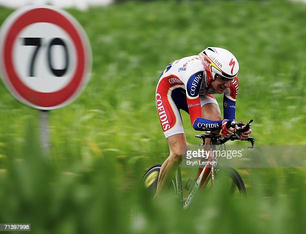 Bradley Wiggins of Great Britain and Cofidis in action during stage 7 of the 93rd Tour de France, an individual time trial from Saint-Gregoire to...