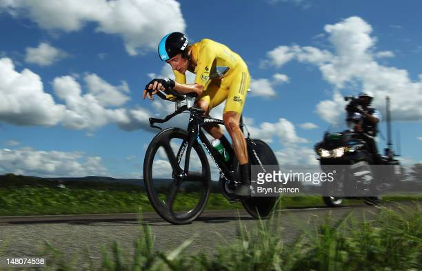 Bradley Wiggins of Great Britain and SKY Procycling in action on his way to winning stage nine of the 2012 Tour de France, a 41.5km individual time...