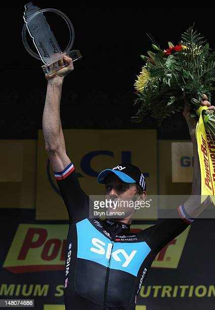 Bradley Wiggins of Great Britain and SKY Procycling in celebrates winning stage nine of the 2012 Tour de France, a 41.5km individual time trial, from...