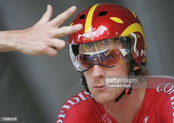 Bradley Wiggins of Great Britain and Team Cofidis prepares to start stage thirteen time trial of the Tour de France from Albi to Albi on July 21,...