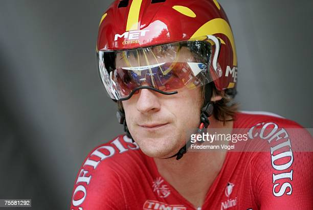 Bradley Wiggins of Great Britain and Team Cofidis waits for the start of stage thirteen time trial of the Tour de France from Albi to Albi on July...