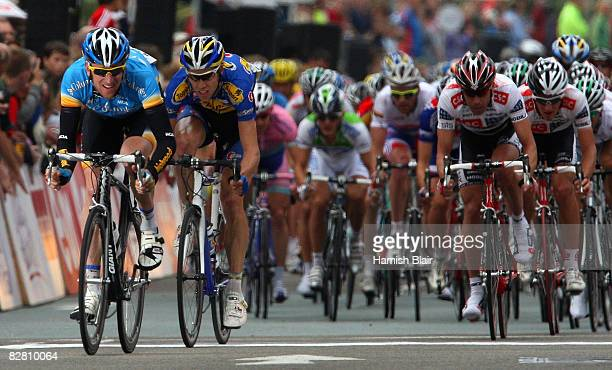 Bradley Wiggins of Great Britain and Team Columbia in action during stage 8 of the Tour of Britain on September 14 2008 in Liverpool England