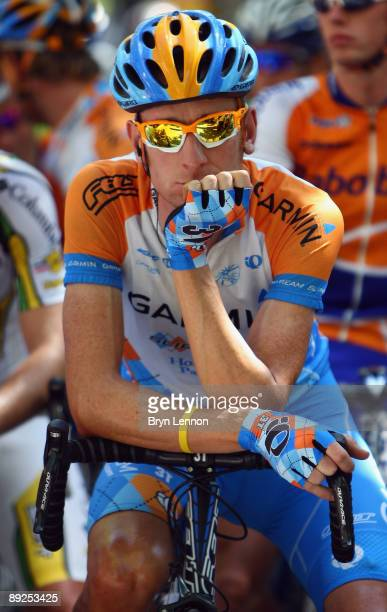 Bradley Wiggins of Great Britain and Team Garmin waits for the start of stage 20 of the 2009 Tour de France from Montelimar to Mont Ventoux on July...