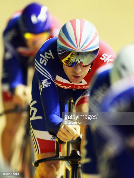 Bradley Wiggins of Great Britain and Team GB rides with the pursuit team during training for the UCI Track Cycling World Cup Classic at Manchester...