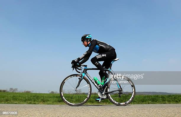 Bradley Wiggins of Great Britain and Team SKY attended the training ride ahead of tomorrow's 74th FlecheWallonne race between Charleroi and Huy on...