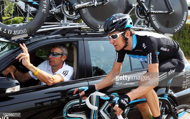Bradley Wiggins of Great Britain and Team SKY chats to Director Sportif Sean Yates during a training ride in preparation for the 2010 Tour de France...