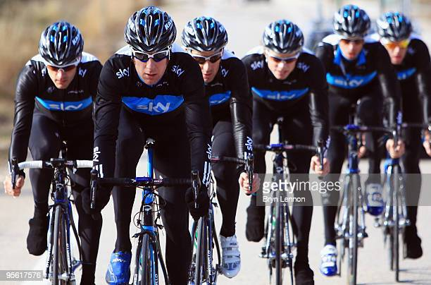 Bradley Wiggins of Great Britain and Team SKY rides with his team mates on a Team SKY Training Camp on January 6, 2010 in Valencia, Spain.