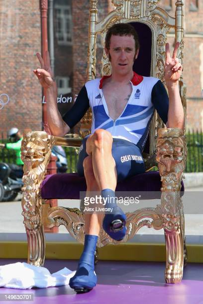 Bradley Wiggins of Great Britain celebrates after the Men's Individual Time Trial Road Cycling on day 5 of the London 2012 Olympic Games on August 1,...