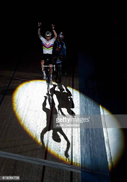 Bradley Wiggins of Great Britain celebrates winning the 60 lap Derny during the Six Day London Cycling at the Velodrome on October 30 2016 in London...