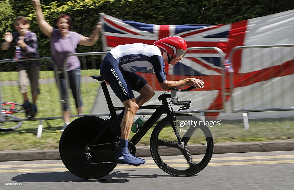 Bradley Wiggins of Great Britain competes in the Men's Individual Time Trial Road Cycling on day 5 of the London 2012 Olympic Games on August 1, 2012 in London, England.