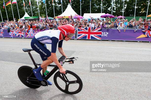 Bradley Wiggins of Great Britain in action during the Men's Individual Time Trial Road Cycling on day 5 of the London 2012 Olympic Games on August 1,...