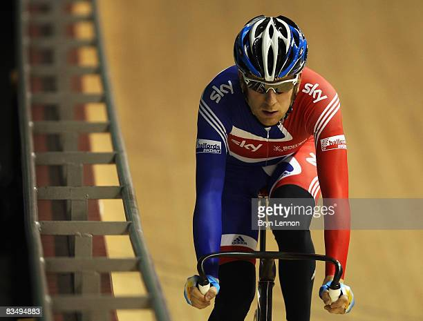 Bradley Wiggins of Great Britain in action during training for the UCI Cycling World Cup on October 30, 2008 in Manchester, England.