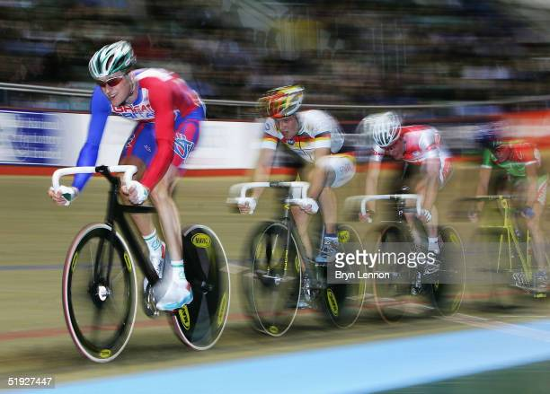 Bradley Wiggins of Great Britain in action in the Men's Point 's Race during the UCI Track Cycling World Cup meeting at Manchester Velodrome on...