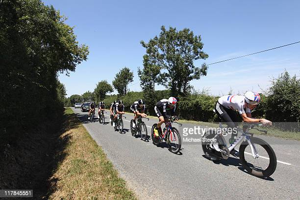 Bradley Wiggins of Great Britain leads the Sky Procycling team during training on the team time trial course on July 1, 2011 in Les Herbiers, France.